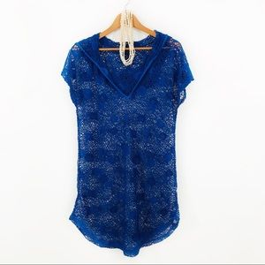 SPIAGGIA DOLCE Blue Stretch Lace Swim Cover Up